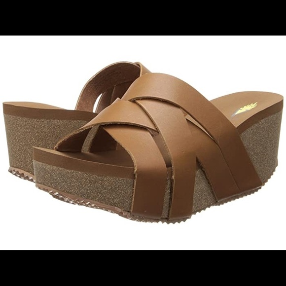 VOLATILE   Mayfield Tan Leather Strappy Flip Flops